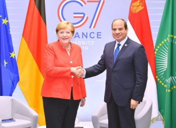 Sisi meets German Chancellor on fringe of G7 summit